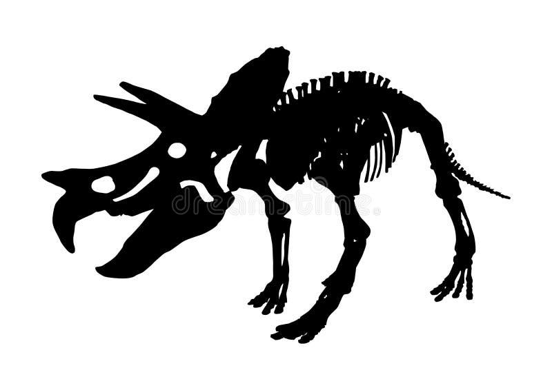 Fósil esquelético aislado del dinosaurio del Triceratops, vector ilustración del vector