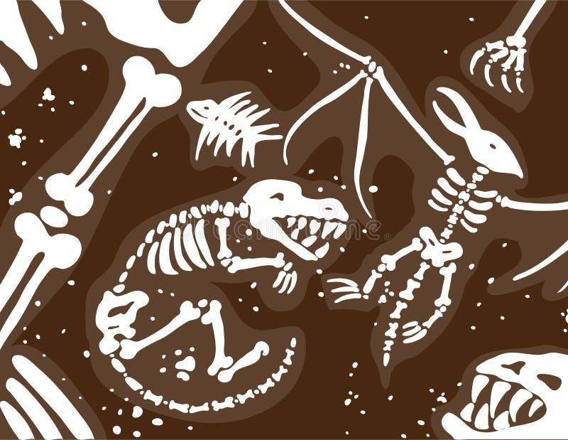 Fósiles y huesos de dinosaurio ilustración del vector