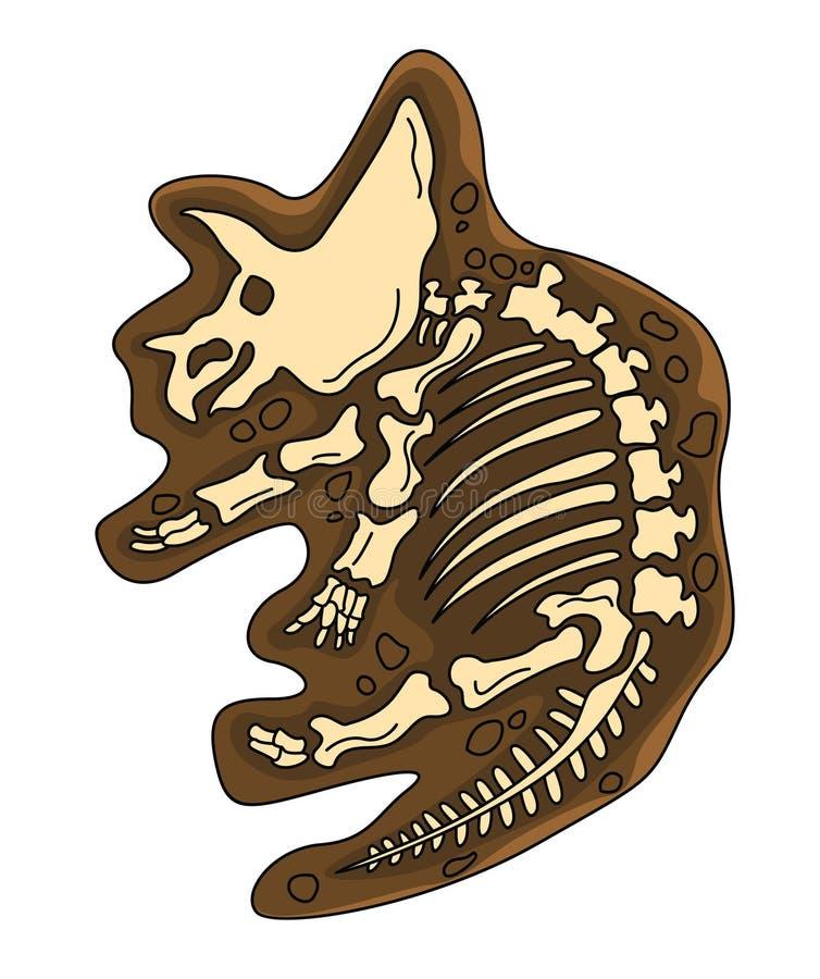 Fóssil do Triceratops ilustração do vetor