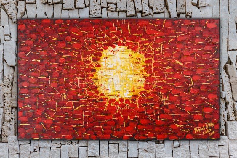 Födelse abstrakt oljamålning på kanfas royaltyfri illustrationer