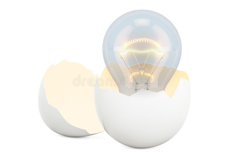 Födelse av ett idébegrepp Lightbulb inom brutet fegt ägg, 3 stock illustrationer