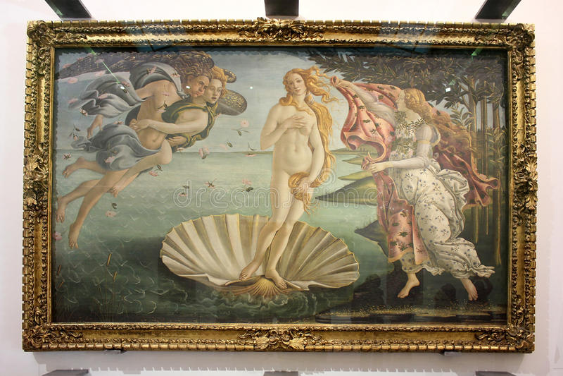 Födelse av Venus som målar Sandro Botticelli arkivbild