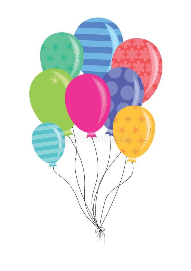 Födelsedag- eller partiballonger royaltyfri illustrationer