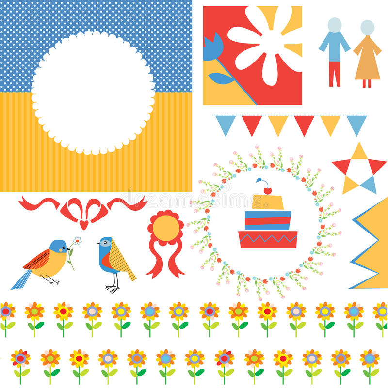 Födelsedag- eller partihälsninguppsättning - ramar, symboler, sjunker stock illustrationer