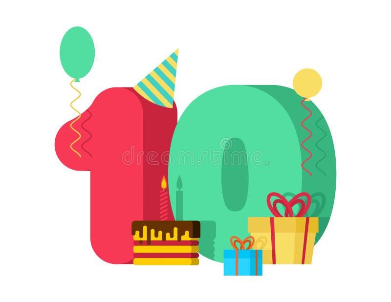 födelsedag för 10 år hälsningkort 10th årsdagberöm Tem vektor illustrationer