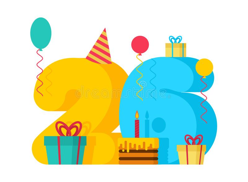 födelsedag för 26 år hälsningkort 26th årsdagberöm Tem royaltyfri illustrationer