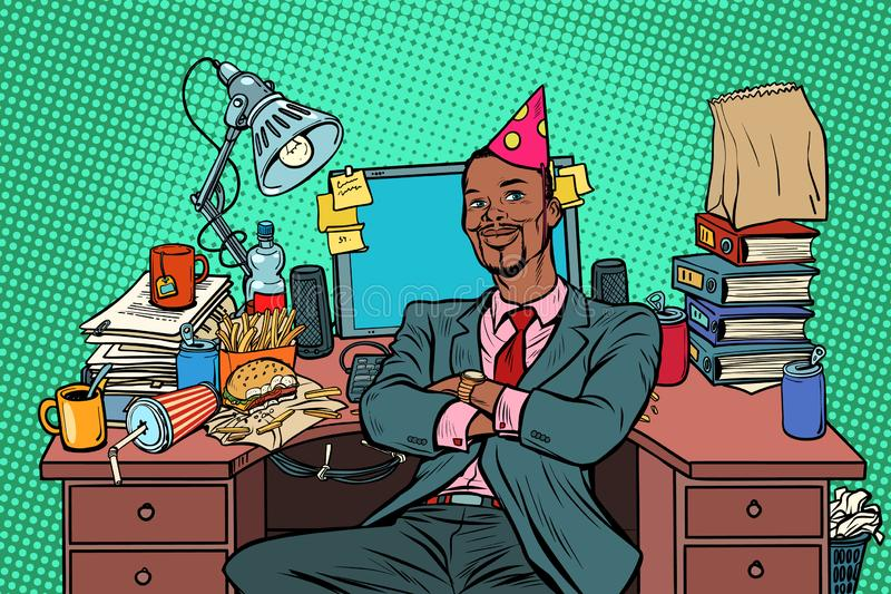 Födelsedag för affärsman för popkonst afrikansk, arbetsplats stock illustrationer