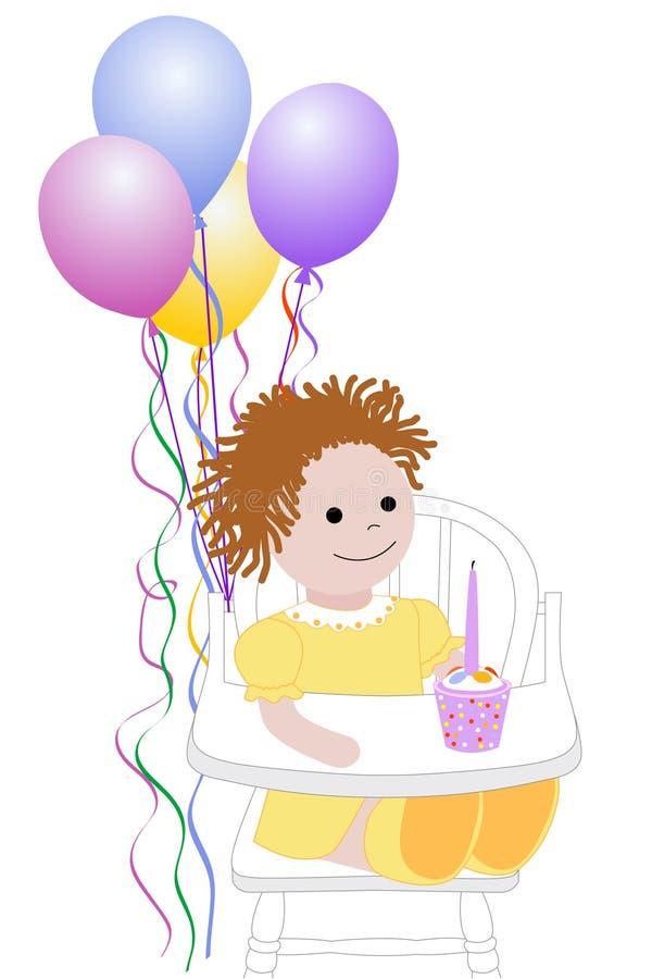 födelsedag först stock illustrationer