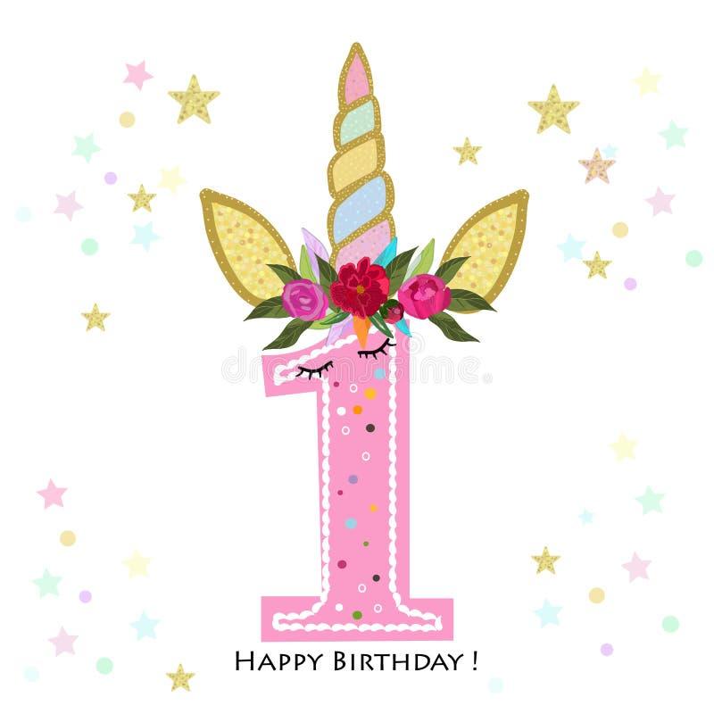 födelsedag först en Unicorn Birthday inbjudan Kort för partiinbjudanhälsning royaltyfri illustrationer