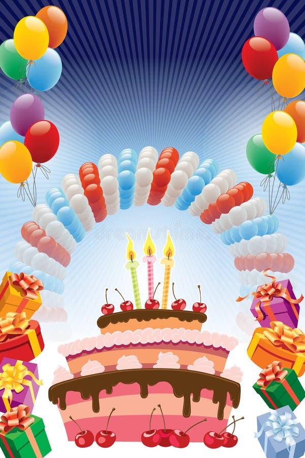 Födelsedagaffisch vektor illustrationer