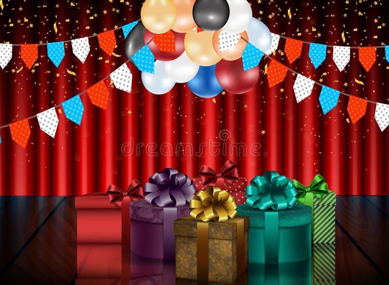 Födelsedagbakgrund av partiet med färgballonger och gåvaaskar på gardinbakgrund royaltyfri illustrationer