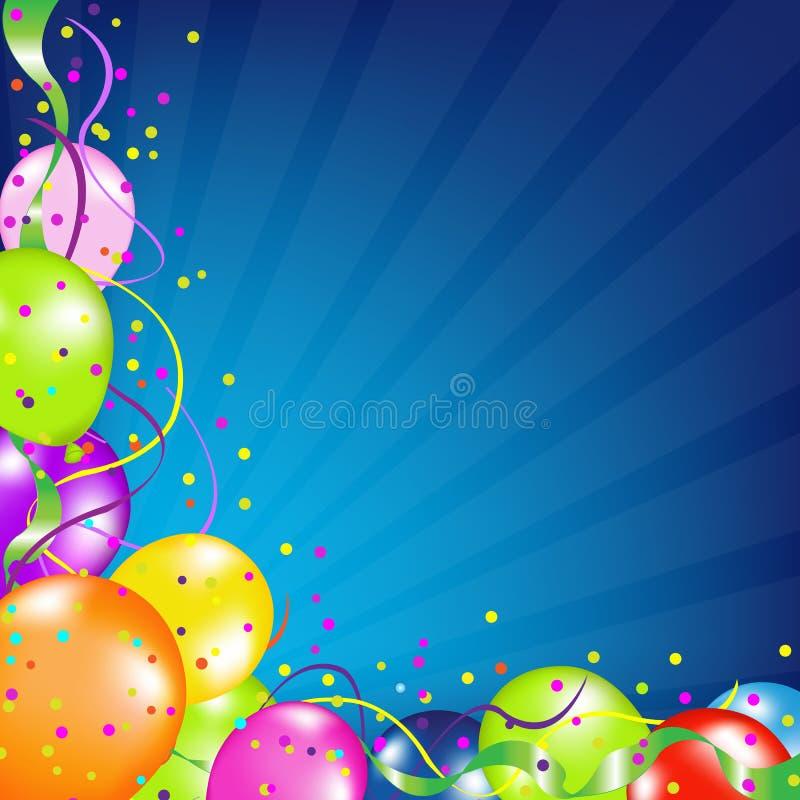 Födelsedagbakgrund med ballonger och Sunburst stock illustrationer
