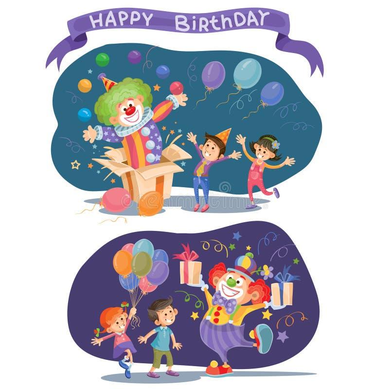 Födelsedagbakgrund med lyckliga ungar och clownen royaltyfri illustrationer