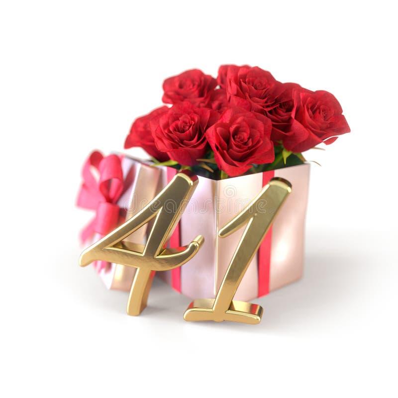 Födelsedagbegrepp med röda rosor i gåvan som isoleras på vit bakgrund fyrtio-första 41st 3D framför arkivbild