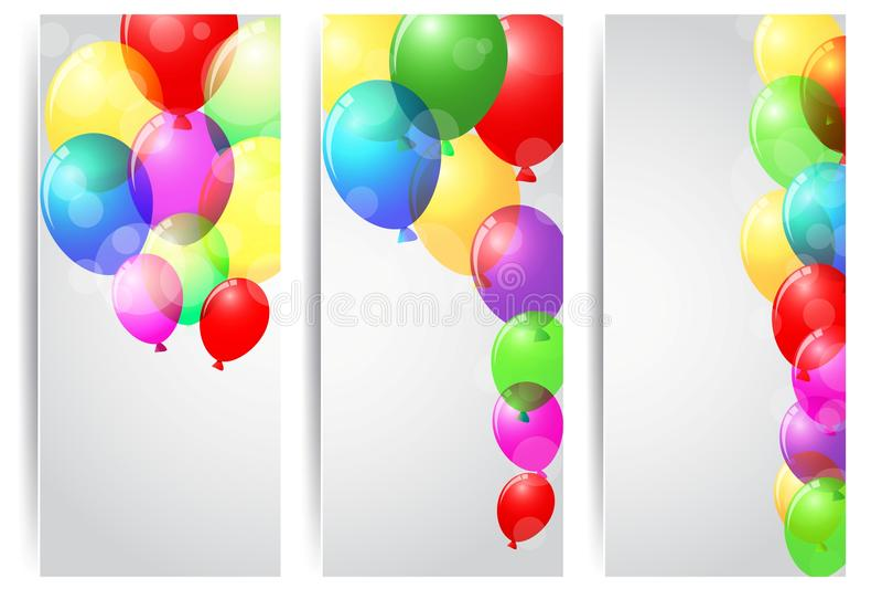 Födelsedagberömbaner med färgrika ballonger stock illustrationer