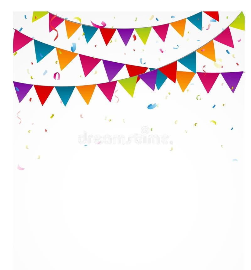 Födelsedagbuntingflaggor med konfettier royaltyfri illustrationer
