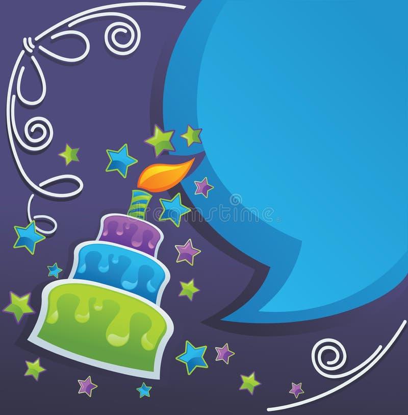 Födelsedagcake, stearinljus och anförandebubblor vektor illustrationer