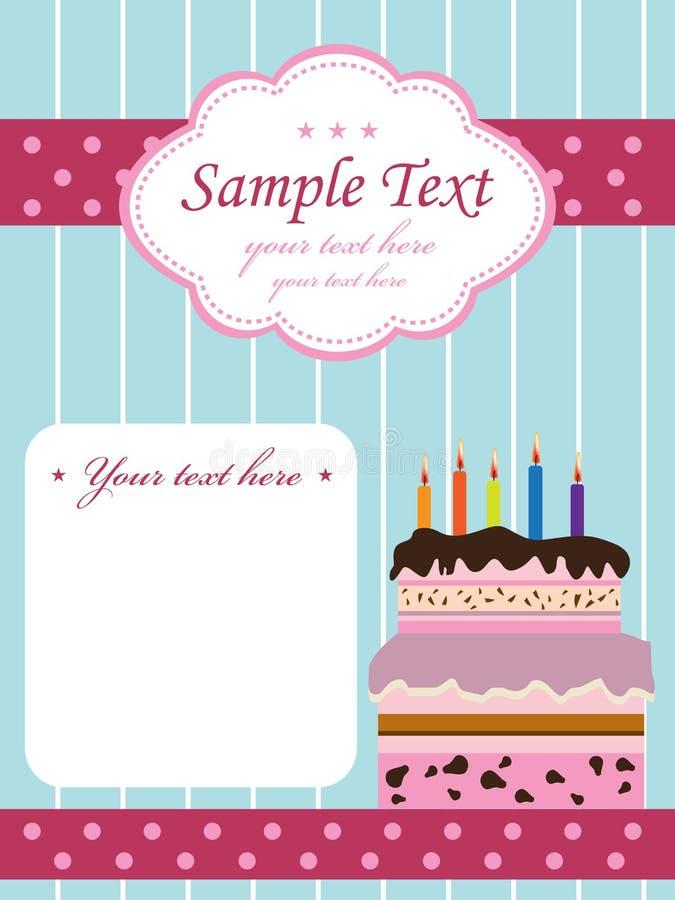 födelsedagcakeinbjudan royaltyfri illustrationer