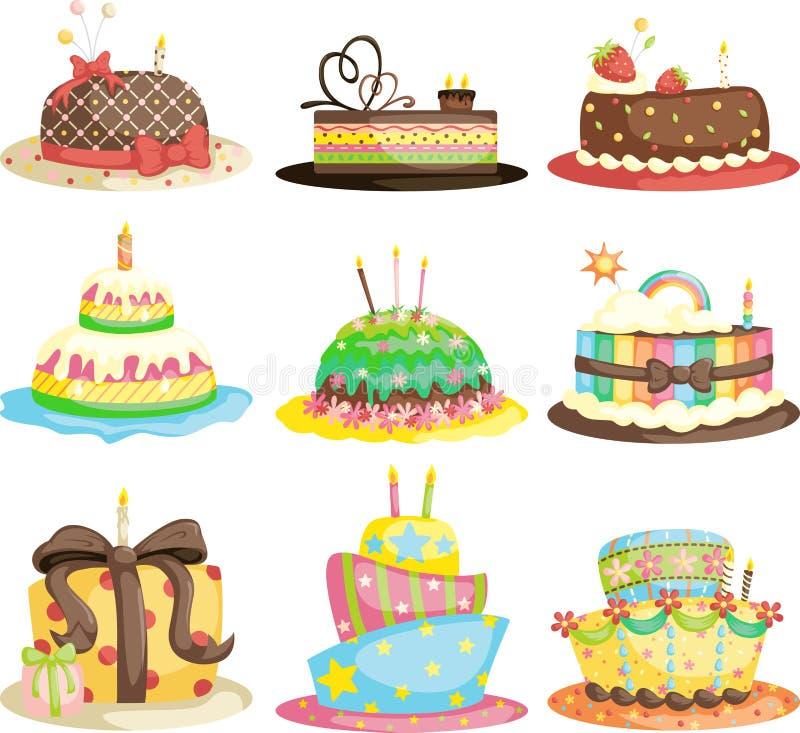 födelsedagcakes stock illustrationer