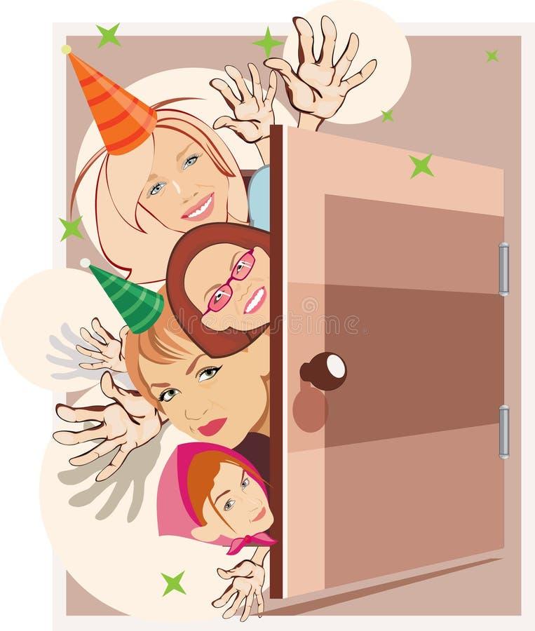 födelsedagdeltagare royaltyfri illustrationer