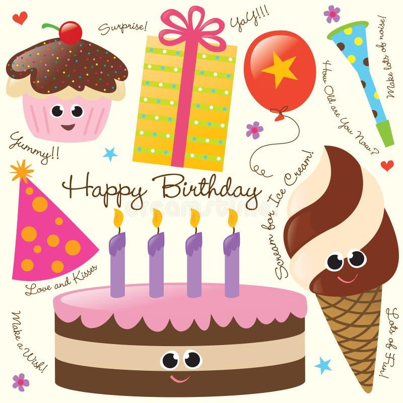 födelsedagdeltagareset royaltyfri illustrationer