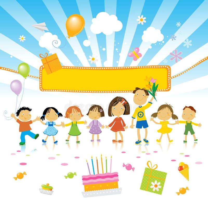 födelsedagen lurar deltagaren stock illustrationer