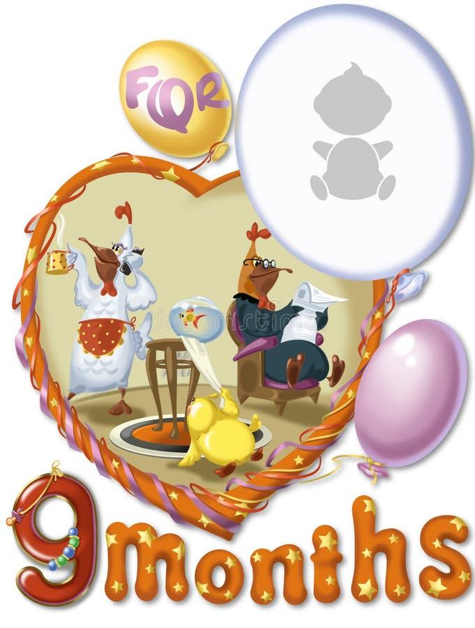 Födelsedagen nio månad för behandla som ett barn royaltyfri illustrationer