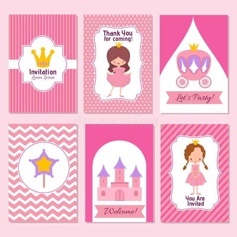 Födelsedagen och prinsessan för barn festar den lyckliga den rosa inbjudanvektormallen vektor illustrationer