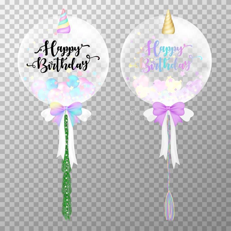 Födelsedagen sväller på genomskinlig bakgrund Realistisk illustration för vektor för enhörningheliumballong Kawaii luftballonger  royaltyfri illustrationer