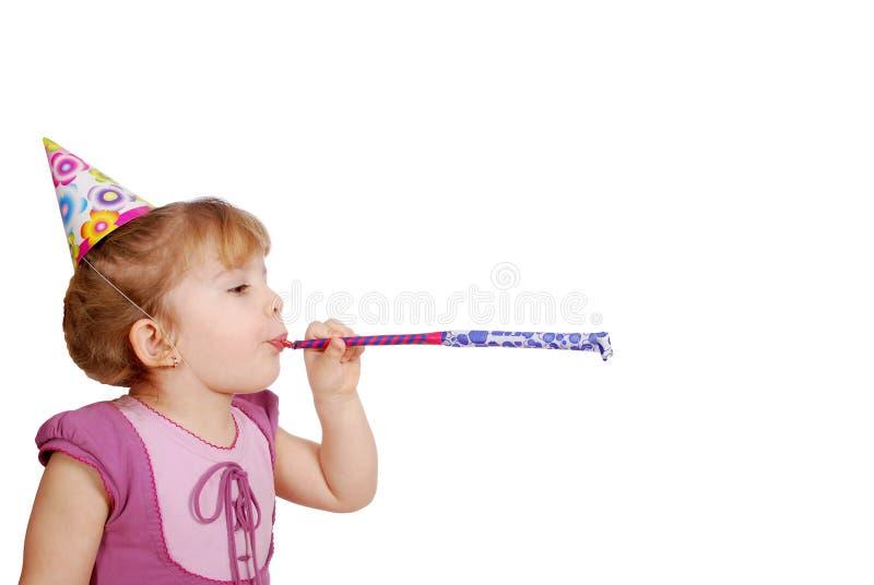 födelsedagflickahatt little trumpet arkivfoton