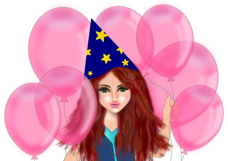 Födelsedagflickan rymmer rosa ballonger royaltyfri illustrationer