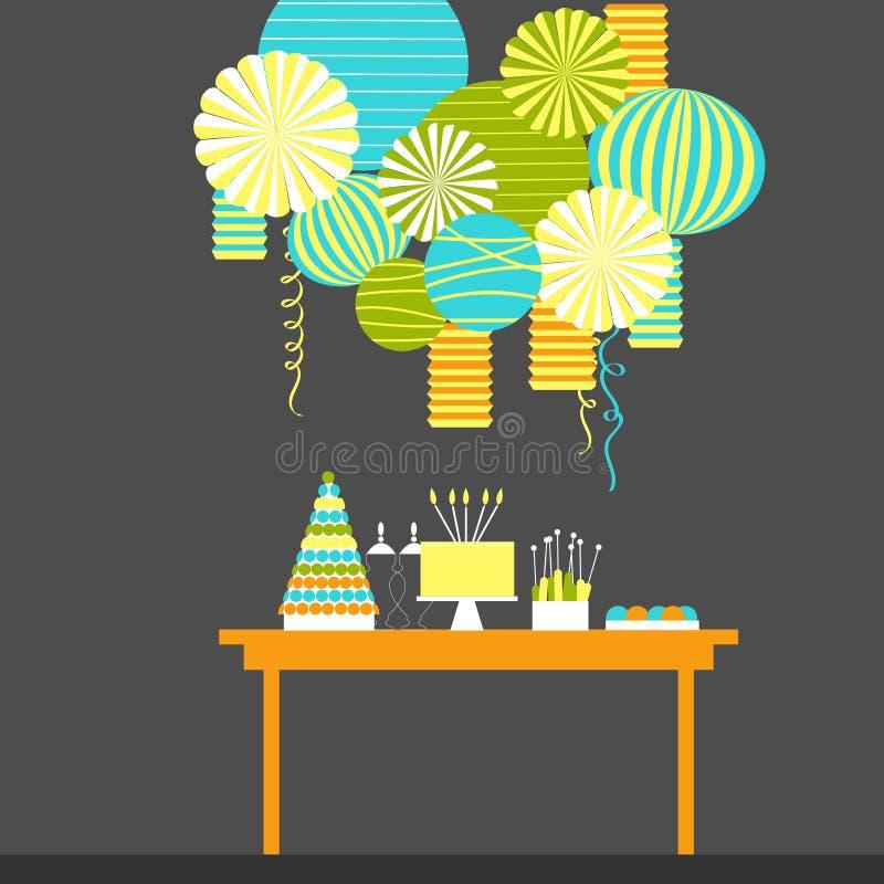 Födelsedaggodisstång med kakan Efterrätttabell och pappers- lyktor stock illustrationer