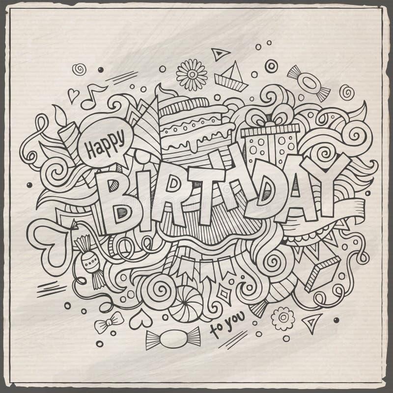 Födelsedaghandbokstäver och klotterbeståndsdelar vektor illustrationer