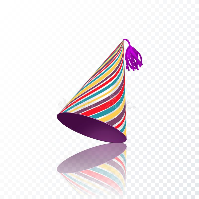 Födelsedaghatt med färgrik bandtextur Vektorillustration som isoleras på genomskinlig bakgrund stock illustrationer