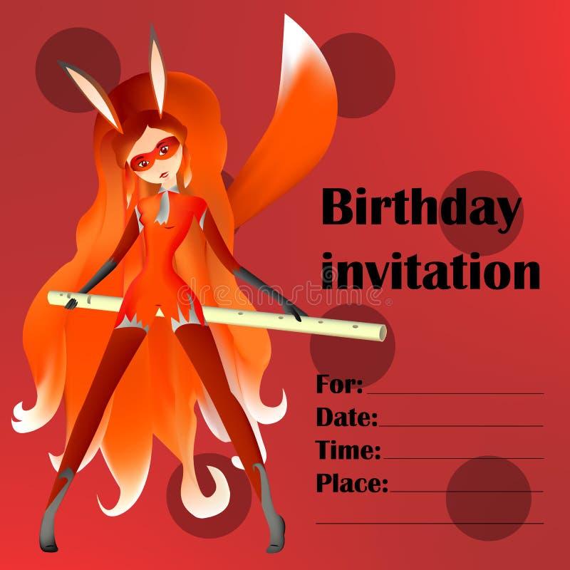 Födelsedaginbjudankort för ungdomar, barn och fans mir royaltyfri illustrationer