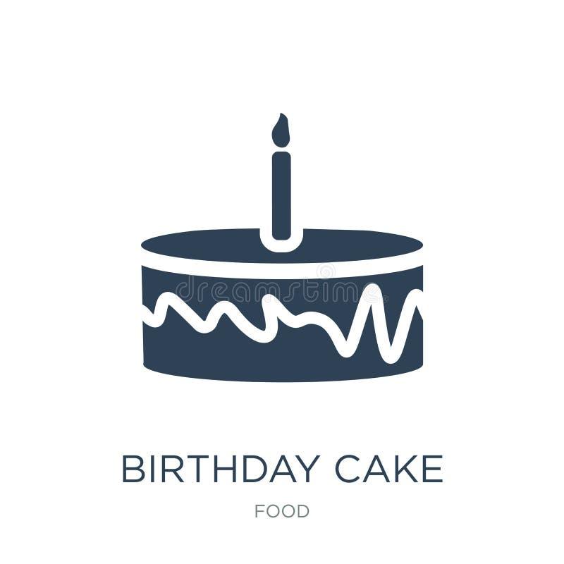 födelsedagkaka med en stearinljussymbol i moderiktig designstil födelsedagkaka med en stearinljussymbol som isoleras på vit bakgr stock illustrationer