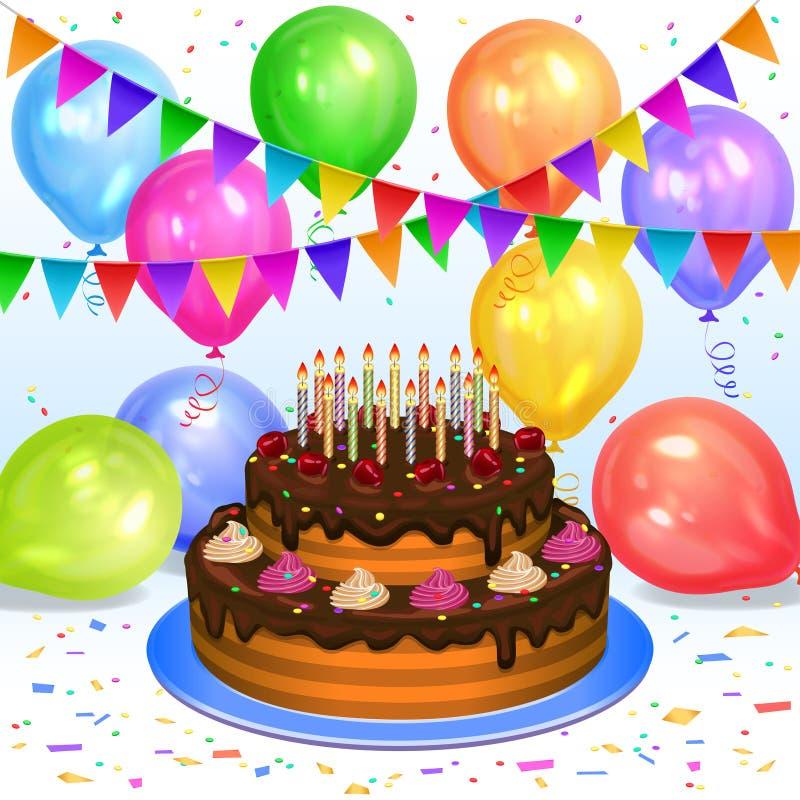 Födelsedagkaka med stearinljus, färgballonger, konfettier och flaggor stock illustrationer