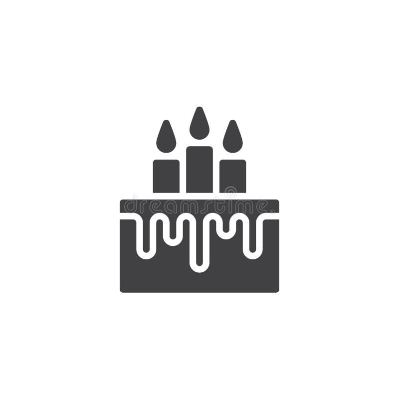 Födelsedagkaka med stearinljussymbolsvektorn stock illustrationer