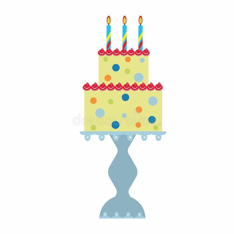 Födelsedagkaka på ställning royaltyfri illustrationer