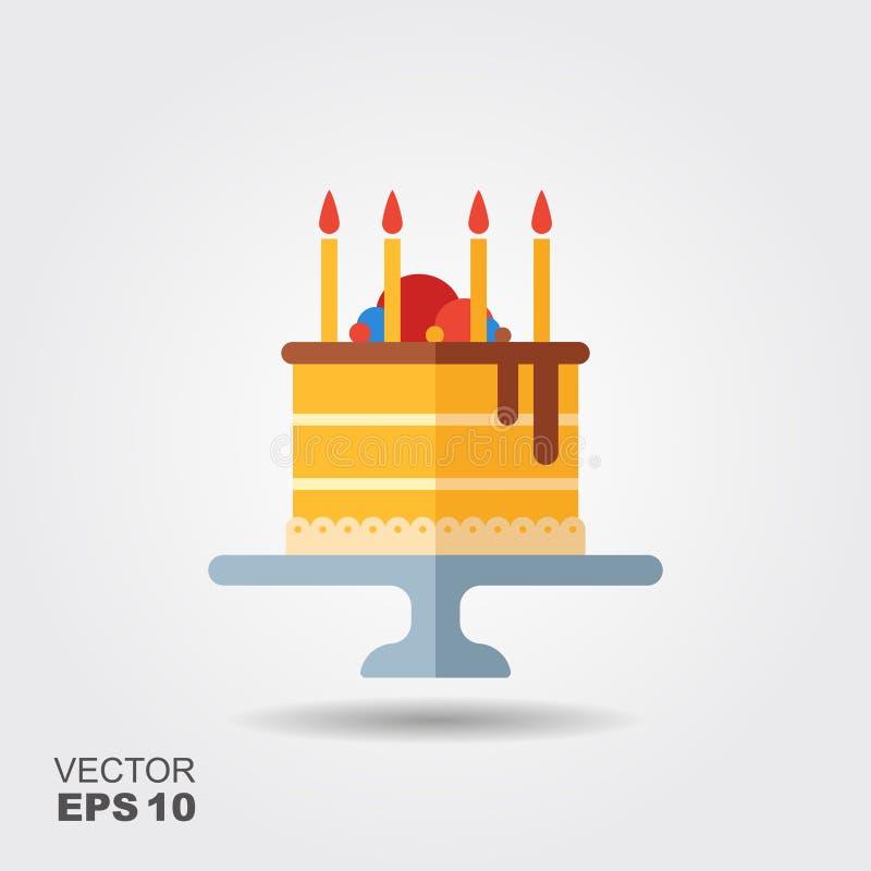 Födelsedagkaka på ställningslägenhetsymbolen med skugga royaltyfri illustrationer
