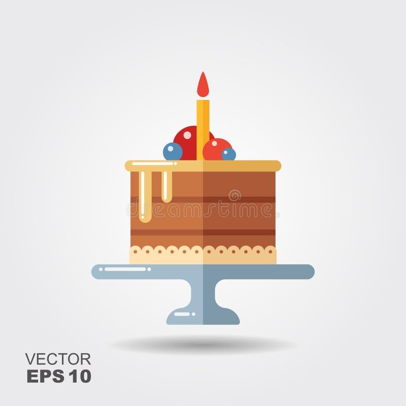 Födelsedagkaka på ställningslägenhetsymbolen med skugga stock illustrationer