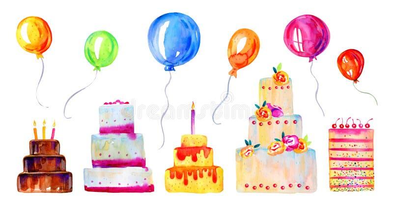 Födelsedagkakor med stearinljus, garneringar och ballonger Handen drog stiliserade tecknad filmvattenfärgen skissar illustrationu stock illustrationer