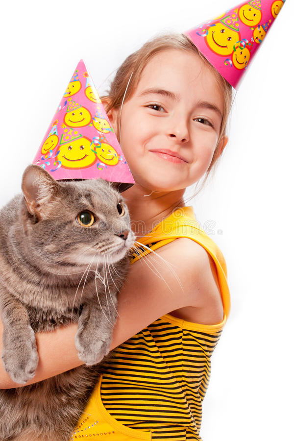 födelsedagkattflicka arkivfoton