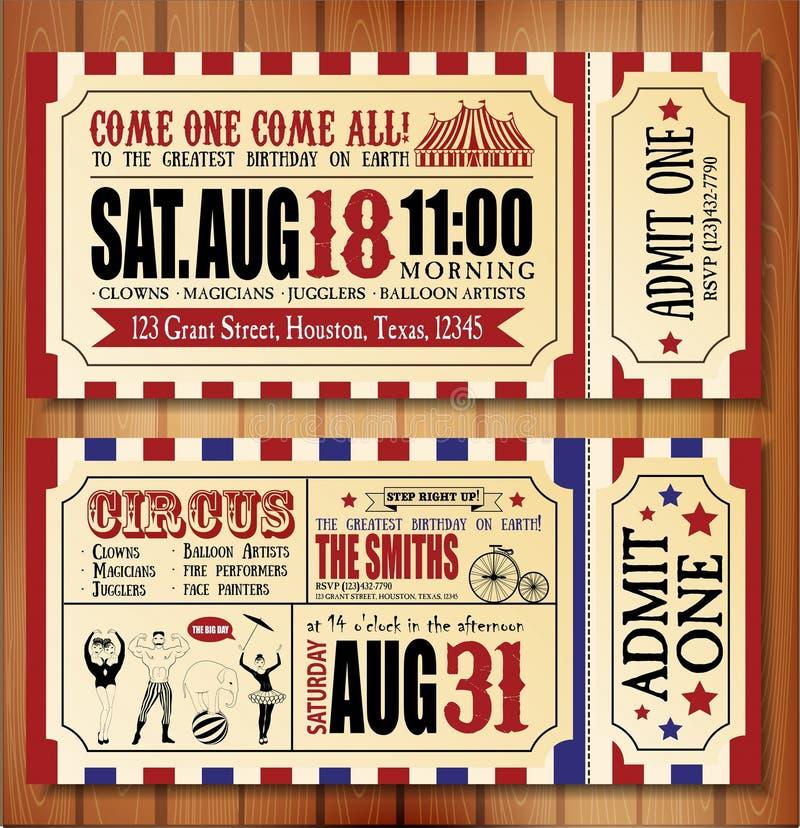 Födelsedagkort med cirkusbiljetten vektor illustrationer