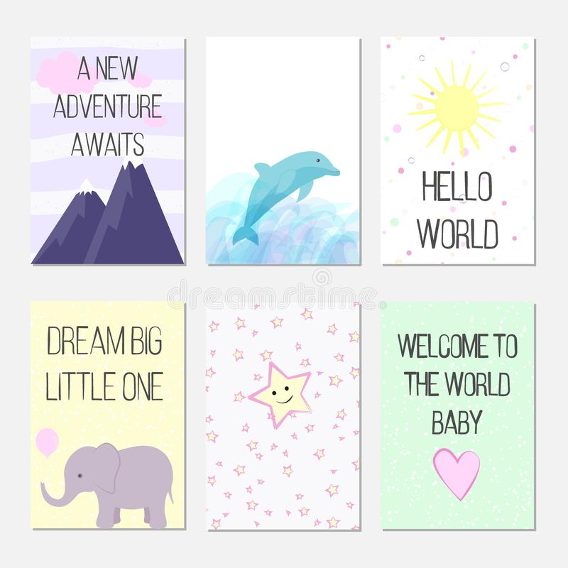 Födelsedagkort med citationstecken, tecknad filmdelfin och elefanten för behandla som ett barn flickan och ungar Ett nytt affärsf royaltyfri bild