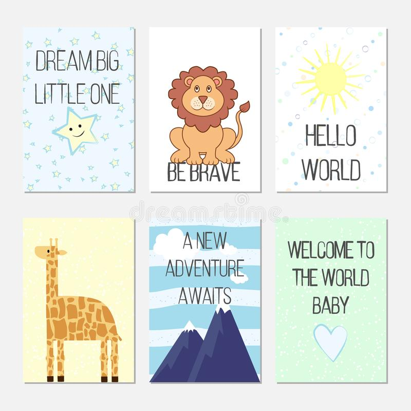 Födelsedagkort med citationstecken, tecknade filmen leo och giraffet för behandla som ett barn pojken och ungar Dröm- stor unge V stock illustrationer