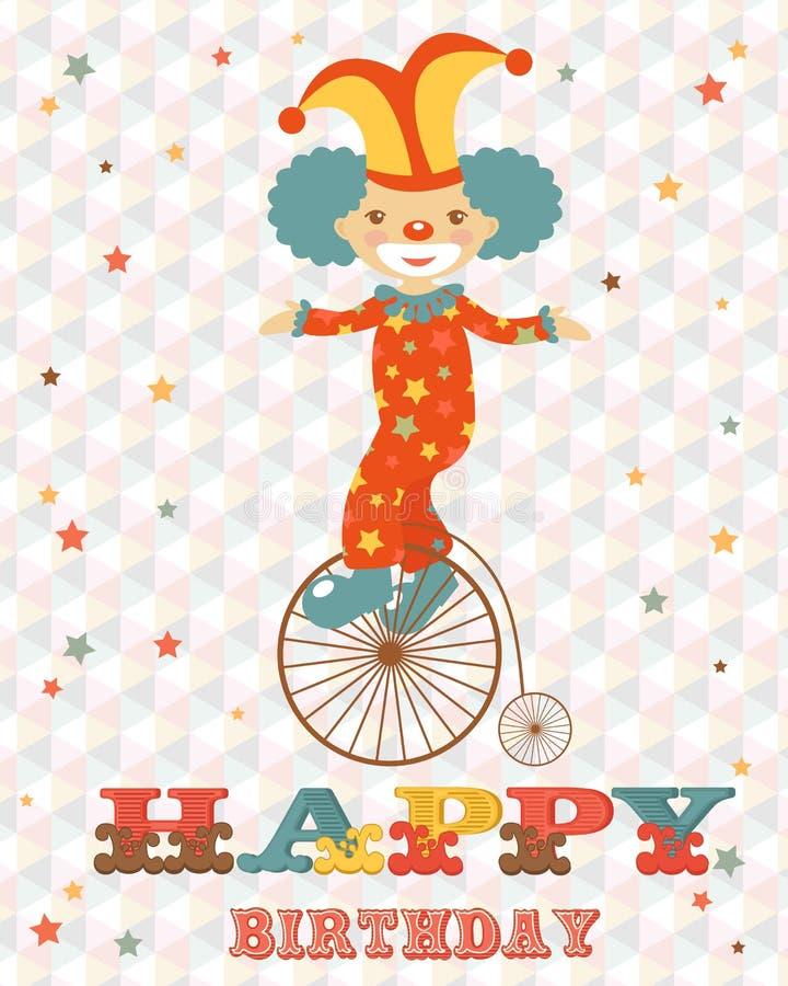 Födelsedagkort med clownen vektor illustrationer