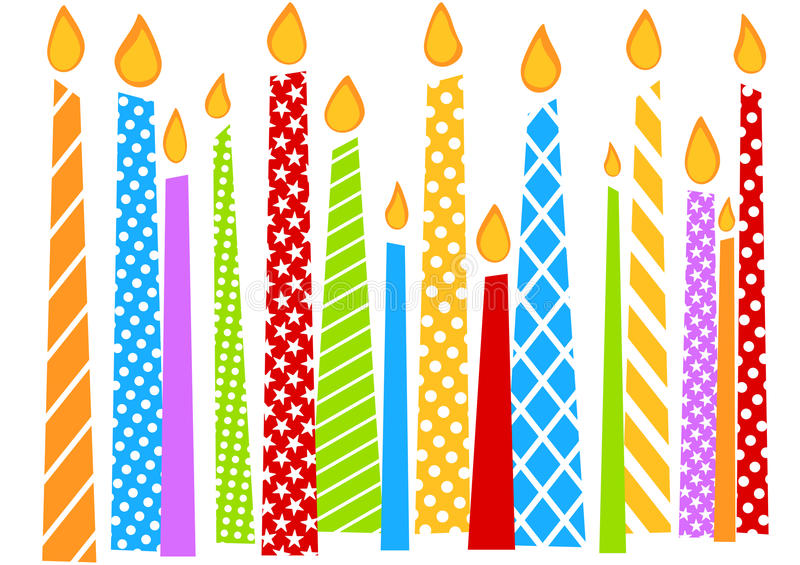 Födelsedagkort med färgrika stearinljus vektor illustrationer