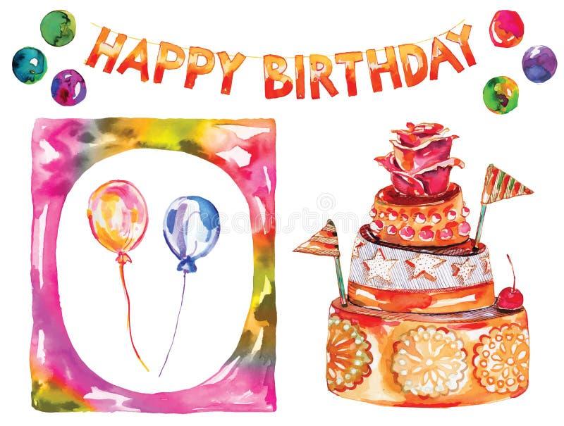 Födelsedagkort med kakan, gladlynt dekorativ girland, färgat önskakort, vektorvattenfärggarnering med ramen stock illustrationer