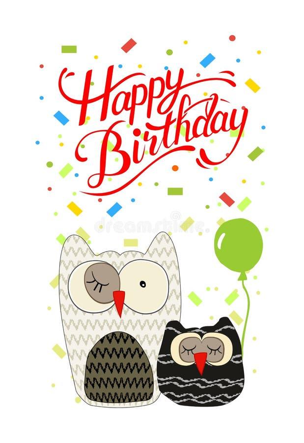 Födelsedagkort med ugglor, confettis och önska för lycklig födelsedag stock illustrationer